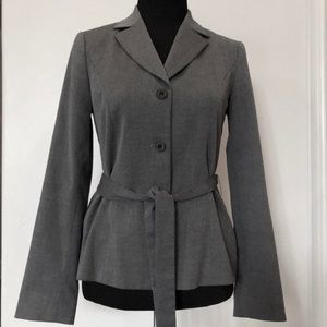 Saks Fifth Avenue 3 button/Tie-waist gray jacket